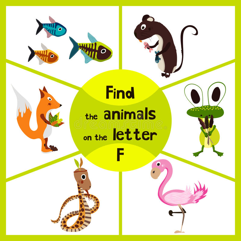 Funny learning maze game, find all 3 cute wild animals with the letter f, pink flamingos, marsh frog and forest Fox . Educational vector illustration