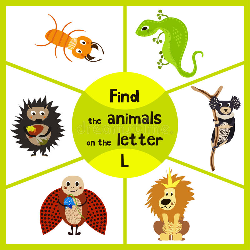 Funny learning maze game, find all 3 cute wild animals with the letter L, desert lizard, the lion of the Savannah and the insect l royalty free illustration