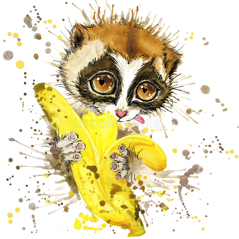 Funny lemur and banana with watercolor splash textured vector illustration