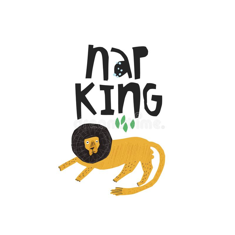 Funny lion hand drawn flat color illustration. Nap king handwritten black lettering. Sleepy, lazy african animal sketch drawing. Scandinavian style isolated stock illustration