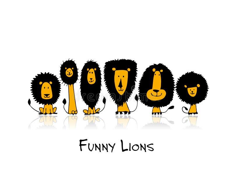 Funny lions, sketch for your design vector illustration