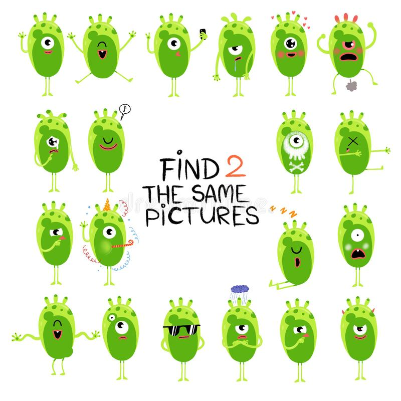 Funny little aliens illustration. Find two same pictures. Educational matching game for children stock illustration