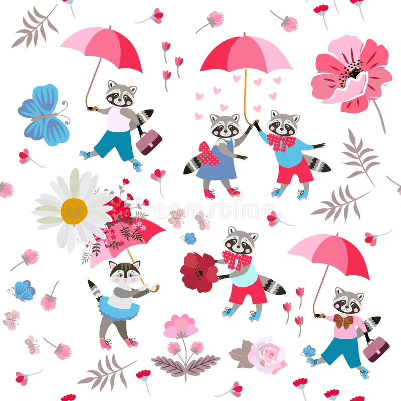 Funny little animals with umbrellas, butterflies, hearts, leaves and flowers on white background. Seamless pattern for baby stock illustration