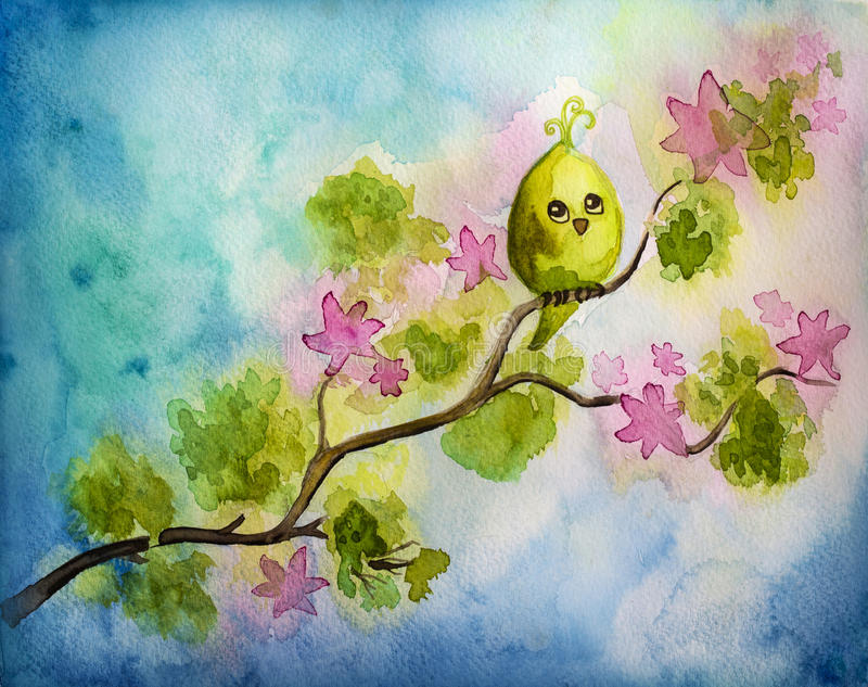Funny little bird. On a tree stock illustration