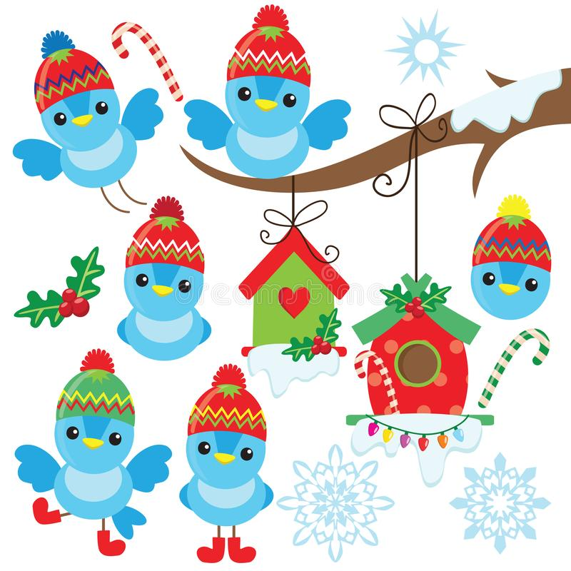 Funny little blue christmas bird in the hat. royalty free stock photography