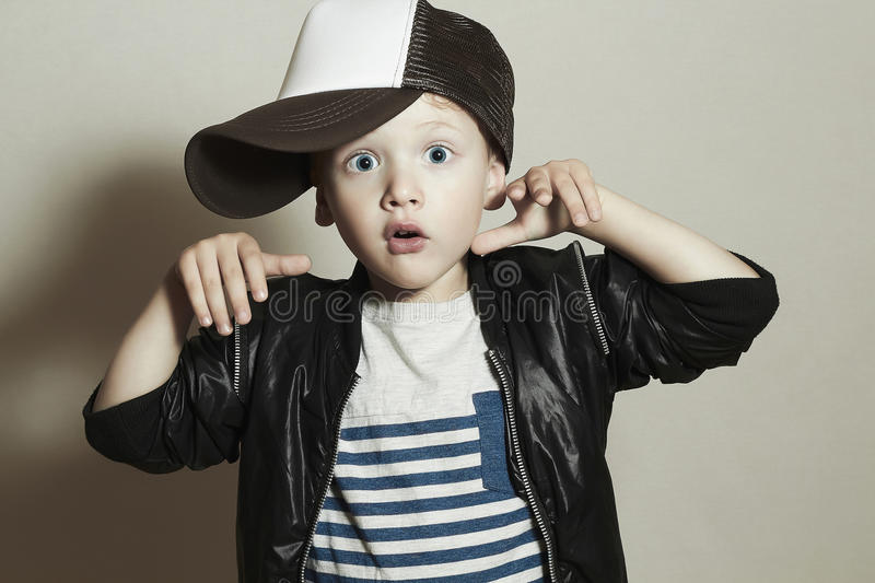 Download Funny Little Boy Hip Hop Style Fashion Children Surprised Emotion Stock