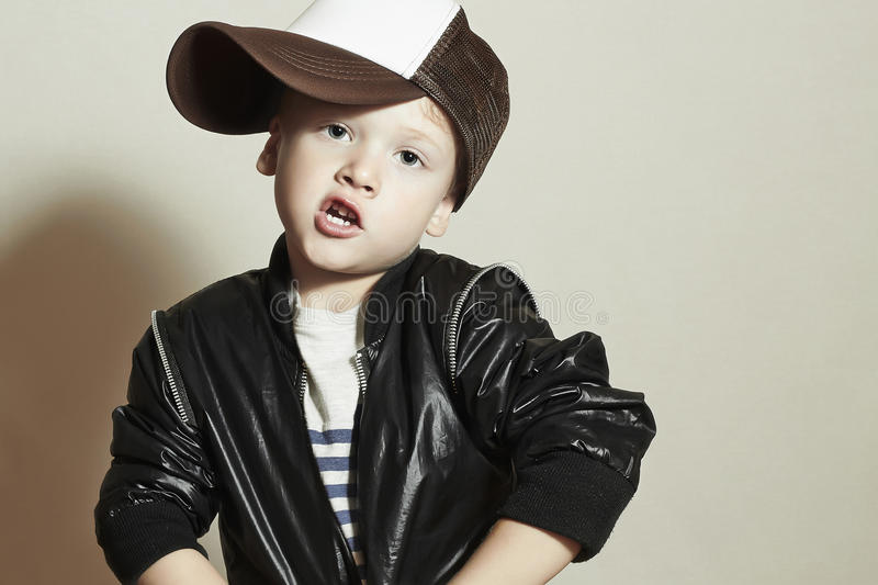Funny little boy.Hip-Hop Style. fashion children.Young Rapper stock image