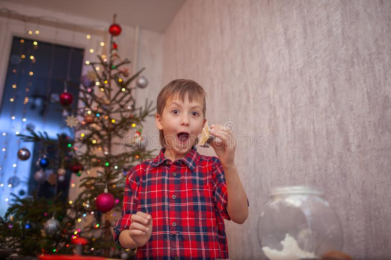 Funny little boy is preparing the biscuit, bake cookies in the Christmas kitchen.  stock images