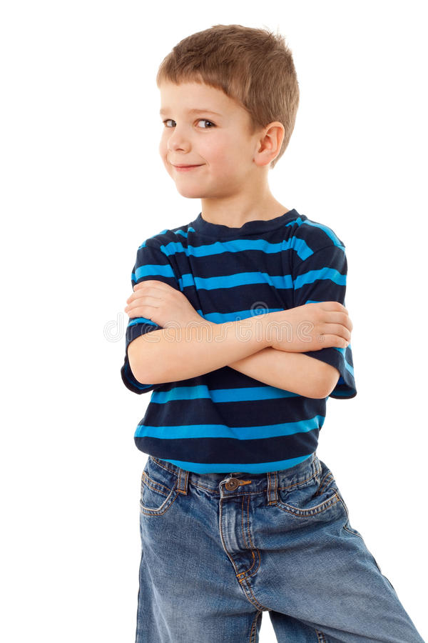 Funny little boy. In striped shirt, isolated on white stock photography
