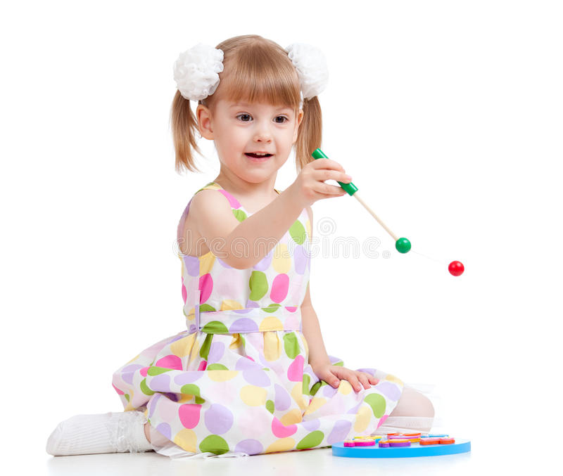 Funny Little Child Playing With Toys Stock Image