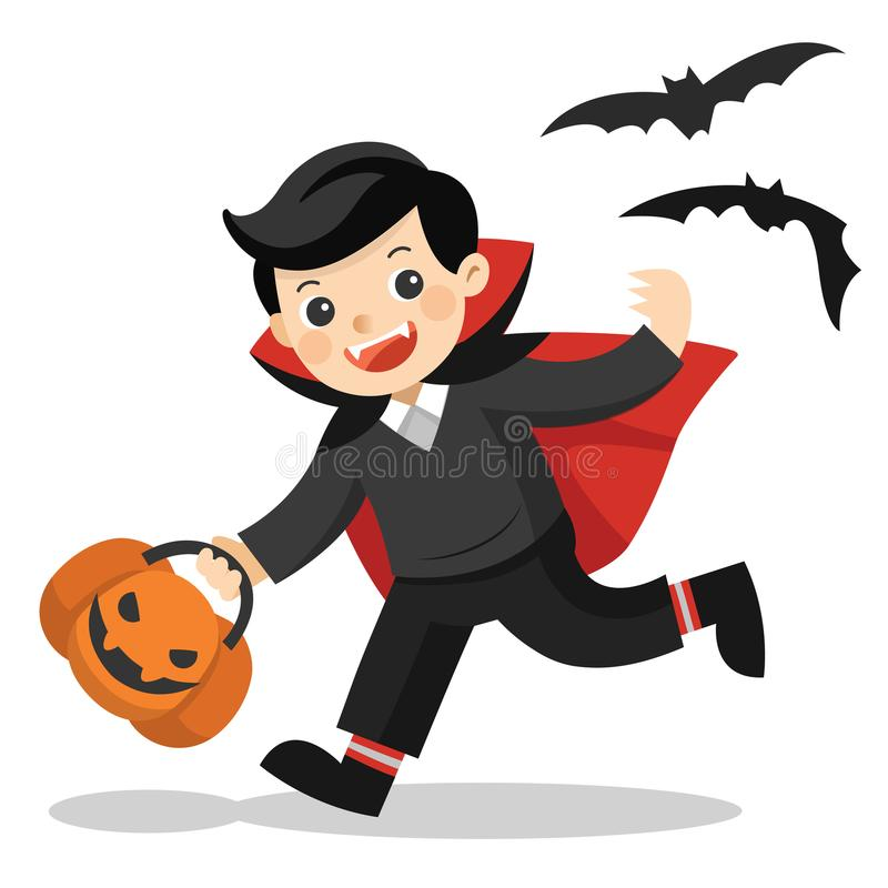 Funny little children in Dracula costume with pumpkin basket stock illustration