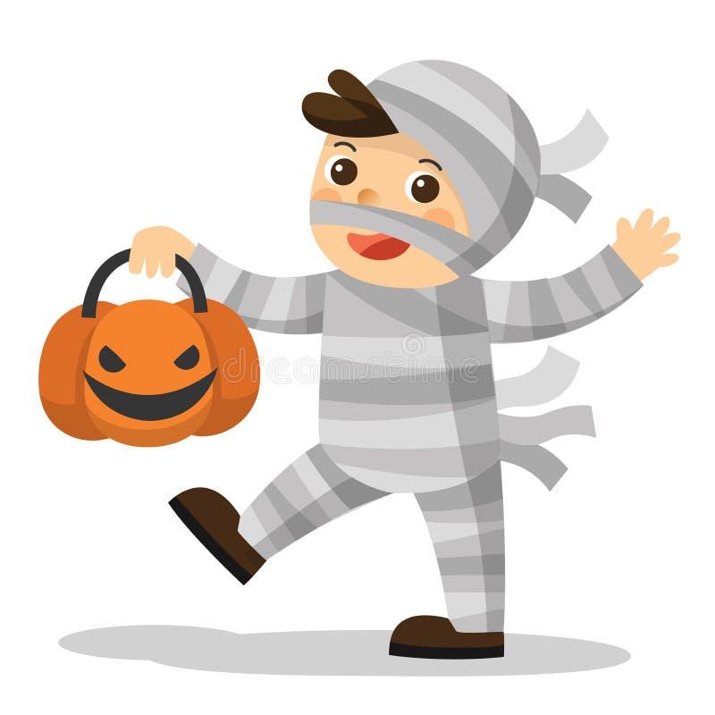 Funny little children in Mummy costume with pumpkin basket. vector illustration