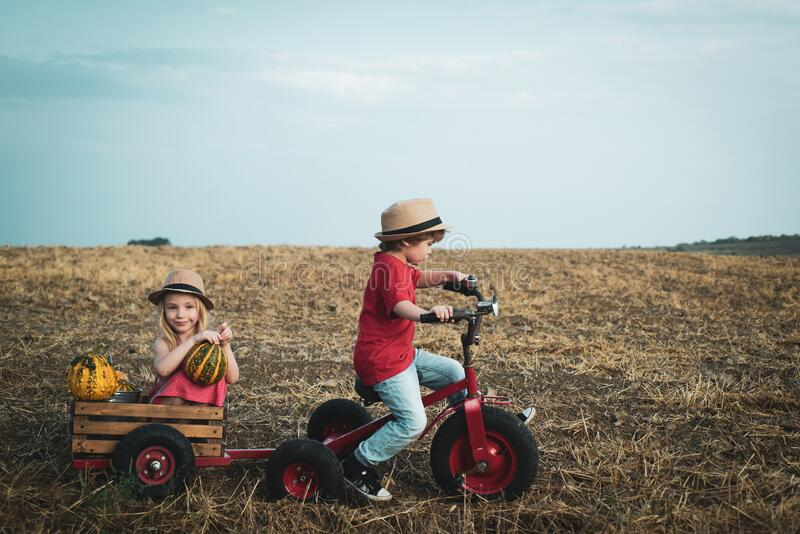 Funny little couple child riding on retro bicycle on sky background. Generation of people and stages of growing up. Funny little couple child riding on retro royalty free stock photo