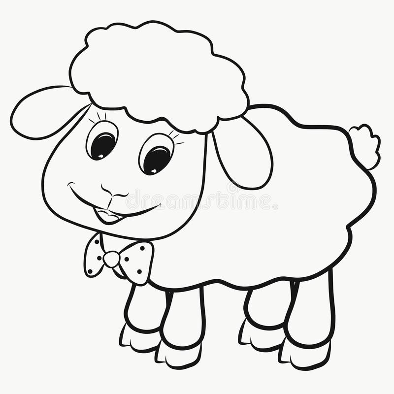 Funny little fluffy lamb, coloring royalty free illustration