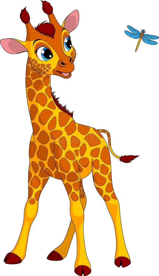 Funny little giraffe and dragonfly stock illustration
