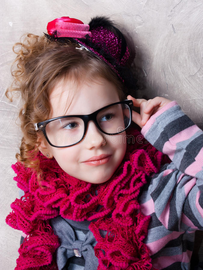Funny little girl stock photos
