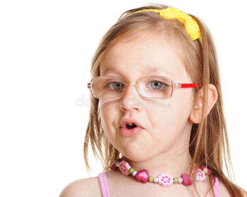 Download Funny Little Girl In Glasses Eating Bread Doing Fun Isolated Stock Photo - Image: 34816422