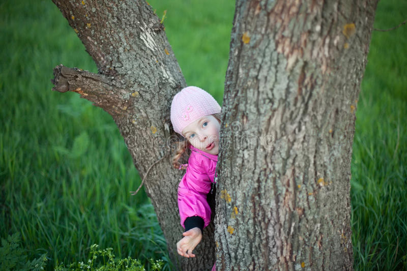 Funny little girl hides behind tree. In autumn royalty free stock images
