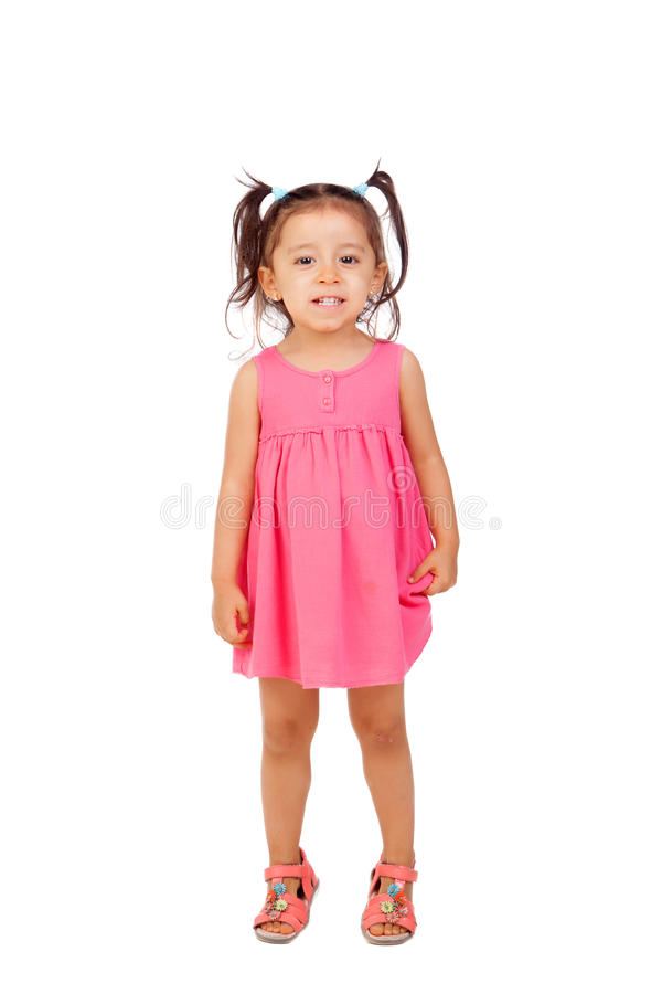Funny Little Girl With Pigtails And Pink Dress Stock Photo ... - photo#30
