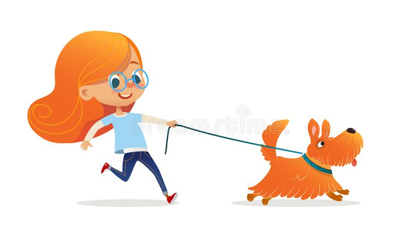 Funny little girl with red hair and glasses walking puppy on leash. Amusing redhead kid and dog isolated on white royalty free illustration