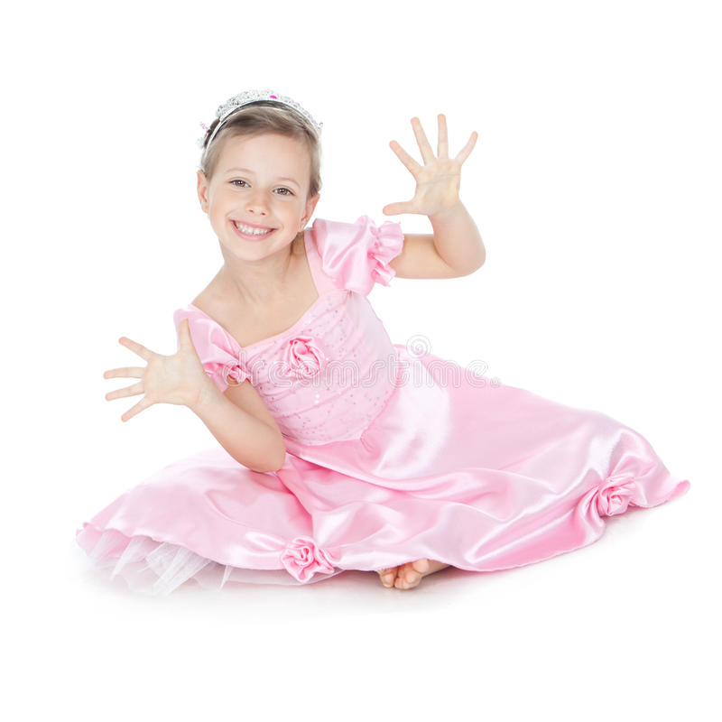Funny little girl with silver crown stock photos