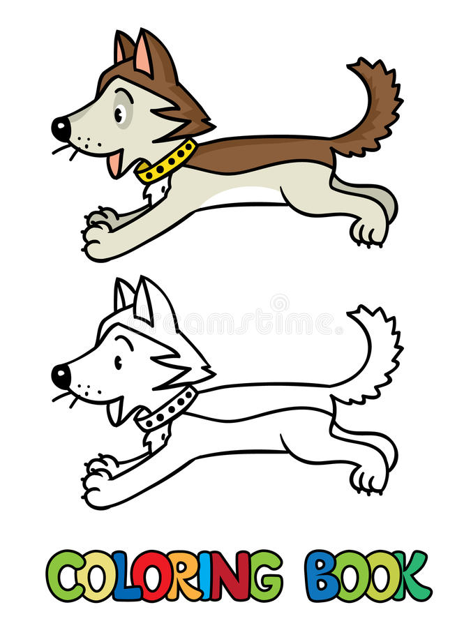 Funny little husky dog. Coloring book. Coloring book or coloring picture of funny jumping little happy husky dog or puppy. Children vector illustration vector illustration