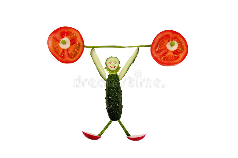 Funny little man made of cucumber stock image