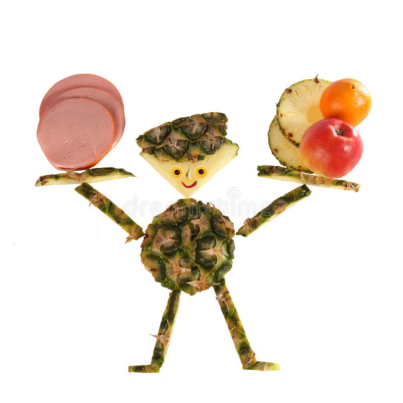 Funny little man made of pineapple stock photo