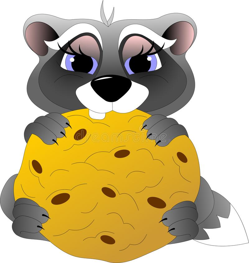 Funny little raccoon eats oatmeal cookies stock illustration
