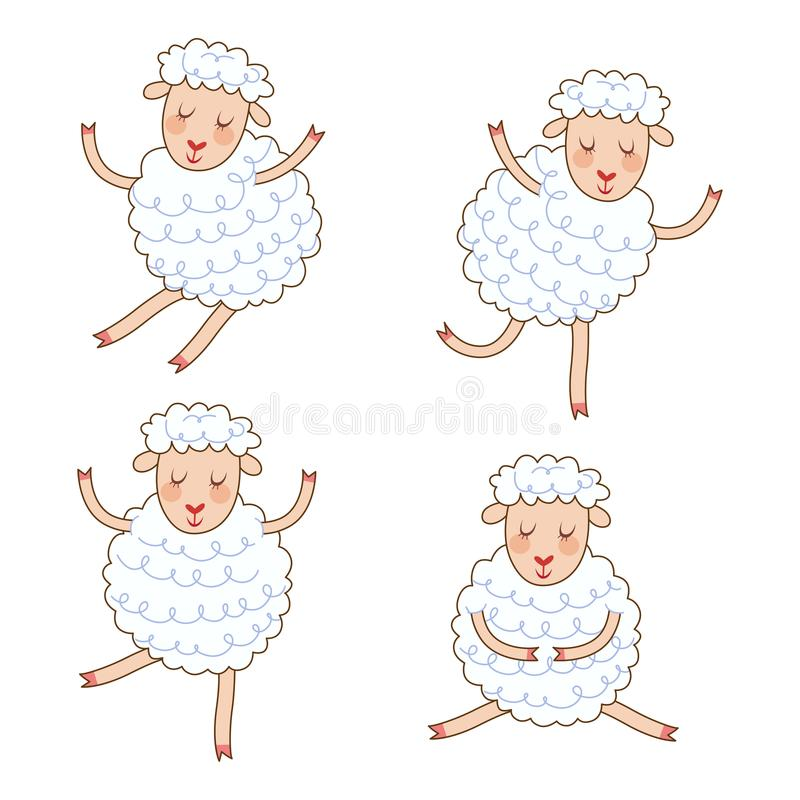Funny little sheep set in different poses. Collection isolated sheep in cartoon style. royalty free illustration