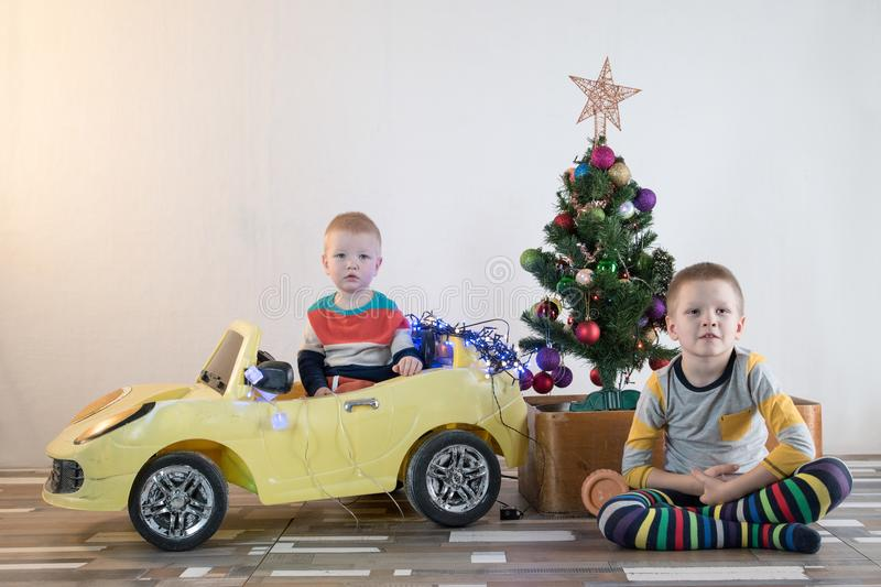 Funny little smiling kids driving toy car with Christmas tree. Happy child in colour fashion clothes bringing hewed xmas tree from. Snowy forest. Boys having royalty free stock image