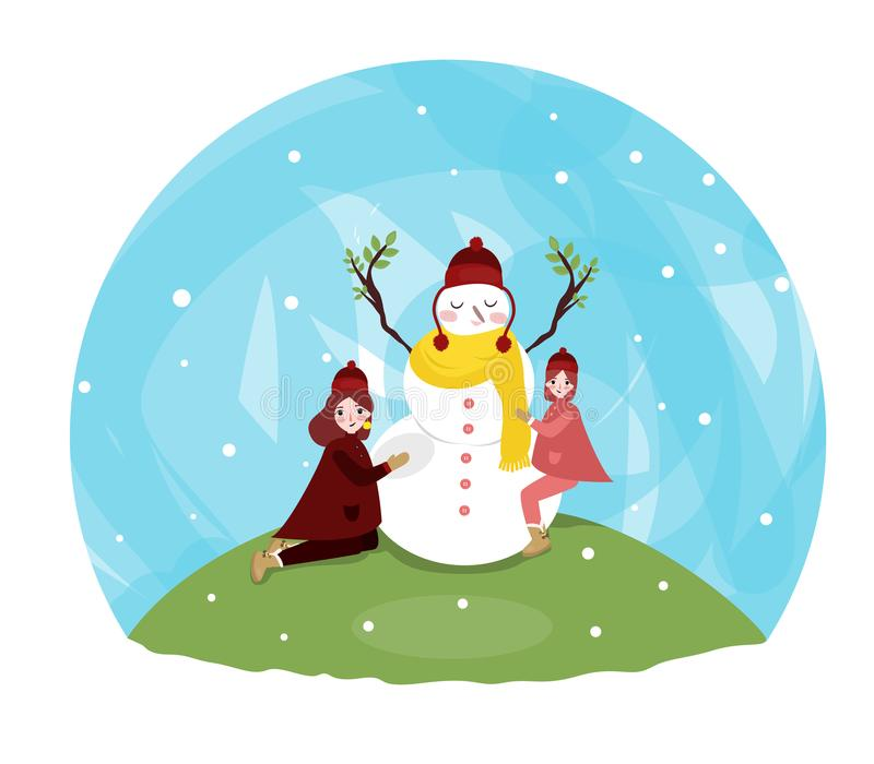 Funny little toddler girl in a colorful hat and warm coat playing with a snow man. Kids play outdoors in winter. Children having fun at Christmas time. Child royalty free illustration