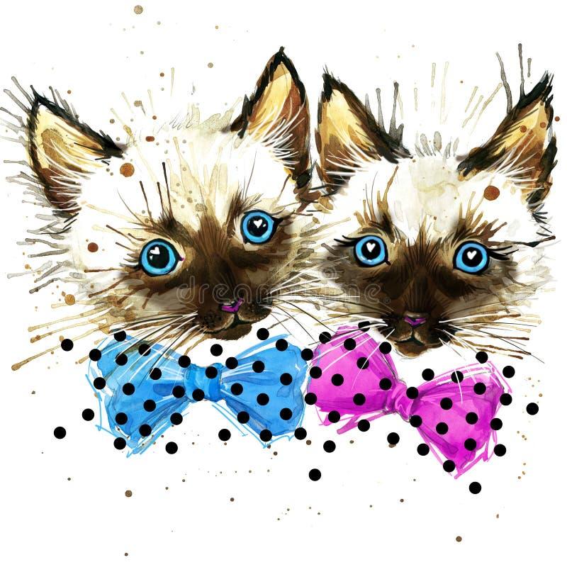 Funny lkitten watercolor vector illustration