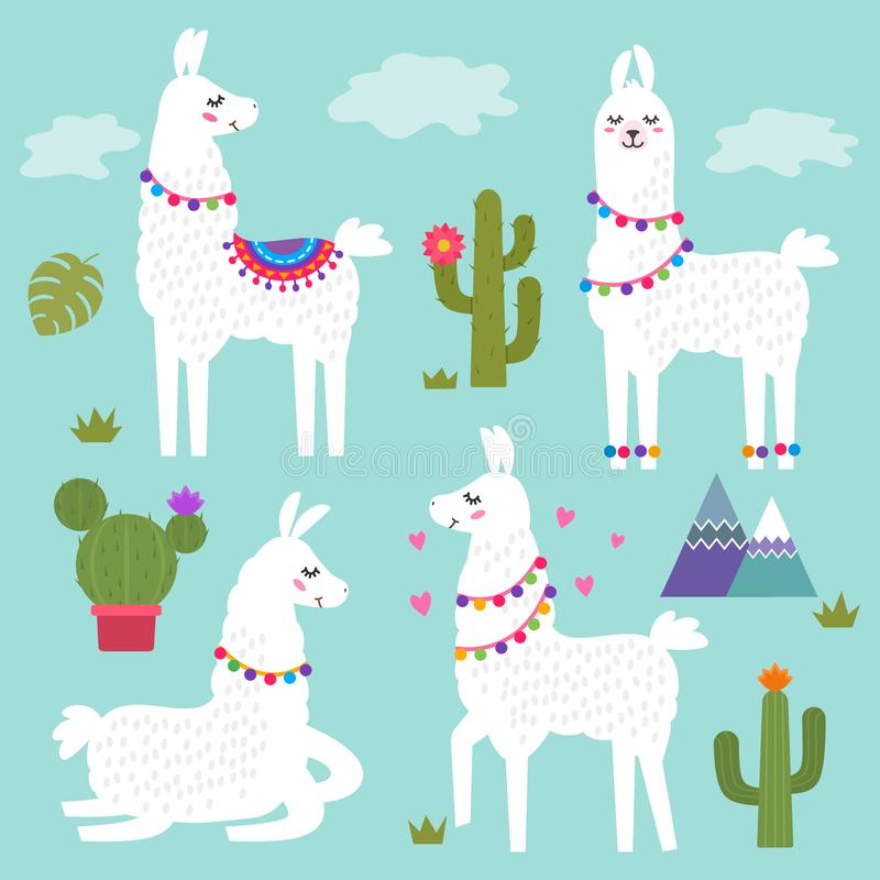 Funny llama alpaca with mountains and cactus. Children`s background for print on textiles, T-shirt, stickers, greeting cards,. Funny llama alpaca with mountains vector illustration