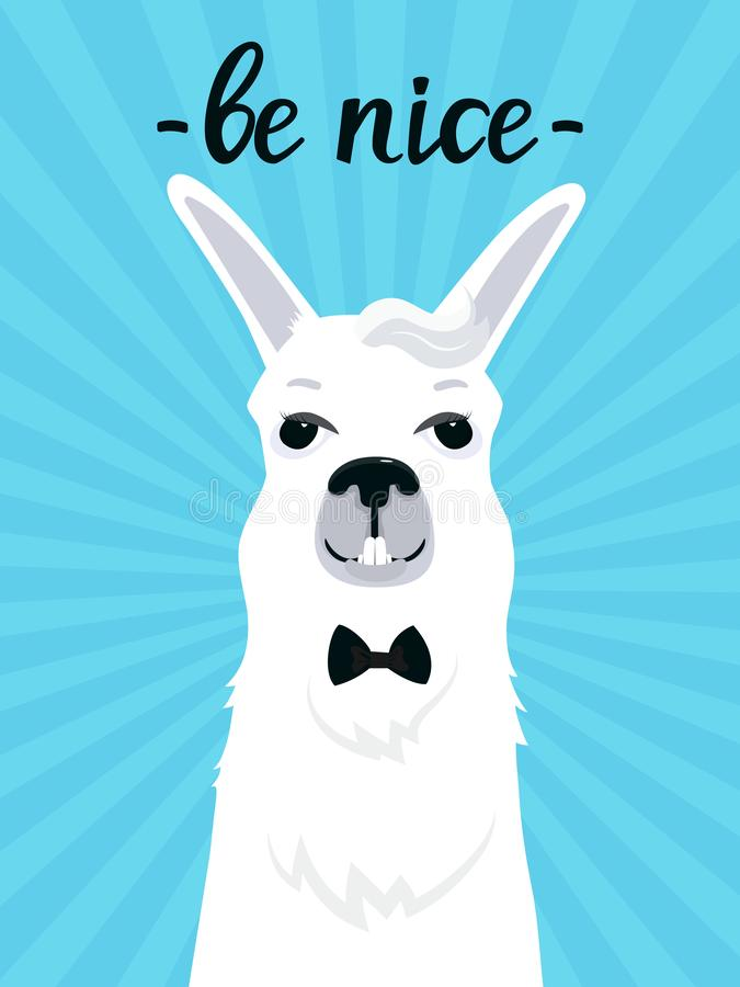 A funny llama with a bang in a bow tie smiles. Be cute fun quote. Adorable alpaca. Portrait of guanaco. A funny llama with a bang in a bow tie smiles. Be cute stock illustration