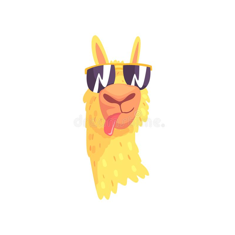 Funny llama character in sunglasses, cute alpaca animal cartoon vector Illustration stock illustration