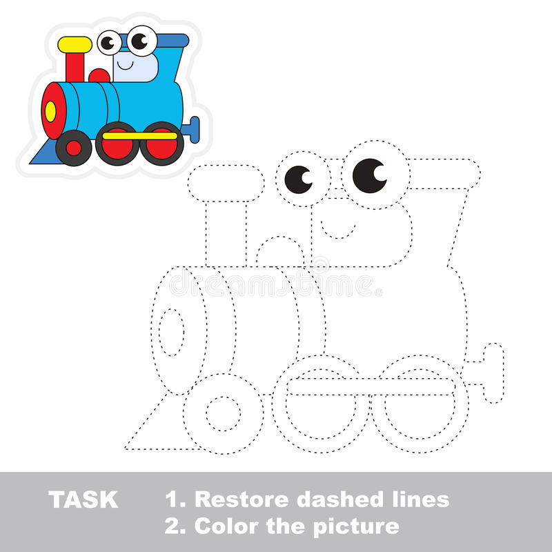 Funny locomotive to be traced. Vector trace game. Funny locomotive in vector to be traced. Easy educational kid game. Simple level of difficulty. Restore dashed royalty free illustration