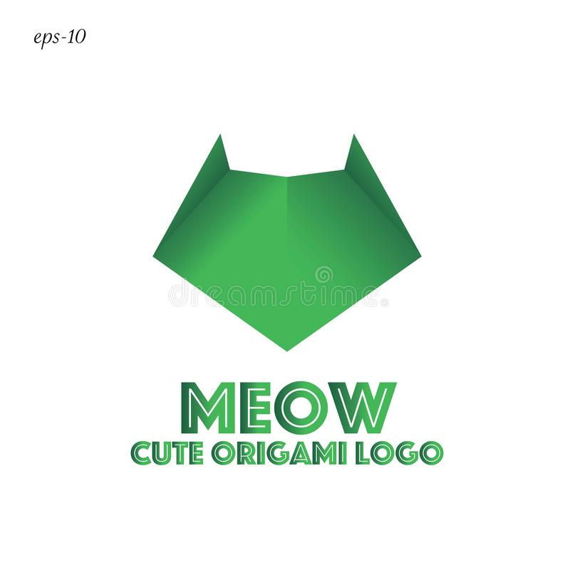 Funny logo cat Geometric abstraction. Geometric abstraction logo in origami style animal design for businesses royalty free illustration