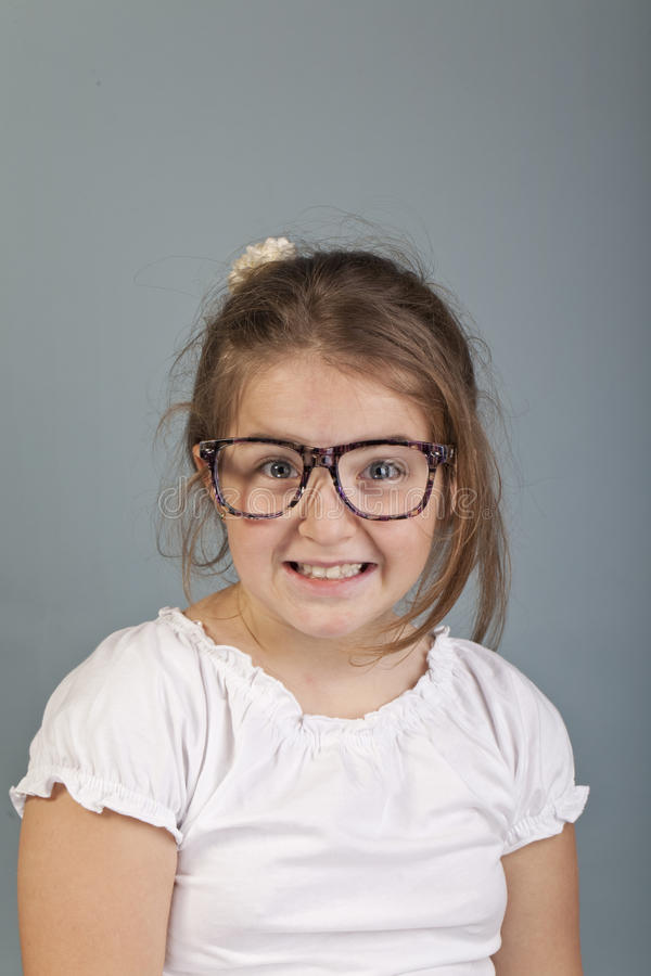 Funny Look Of A Girl With Glasses Stock Photography