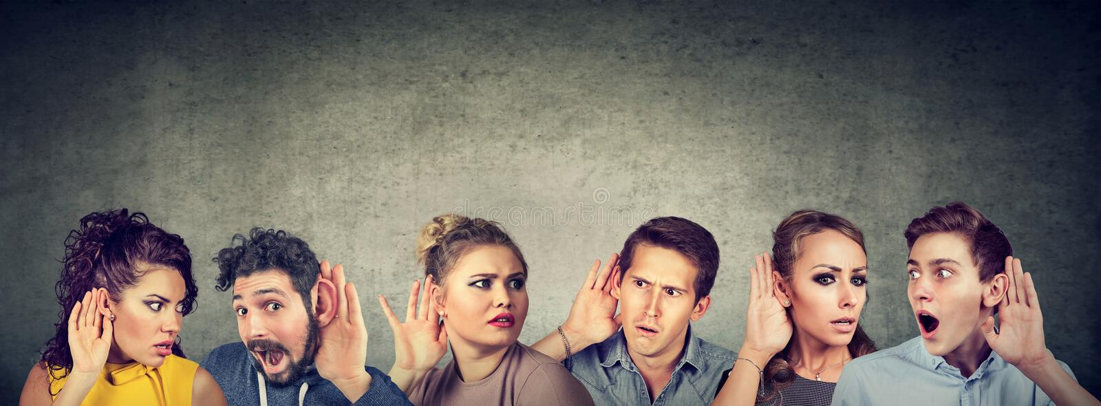 Funny looking gossip people communicating royalty free stock photography