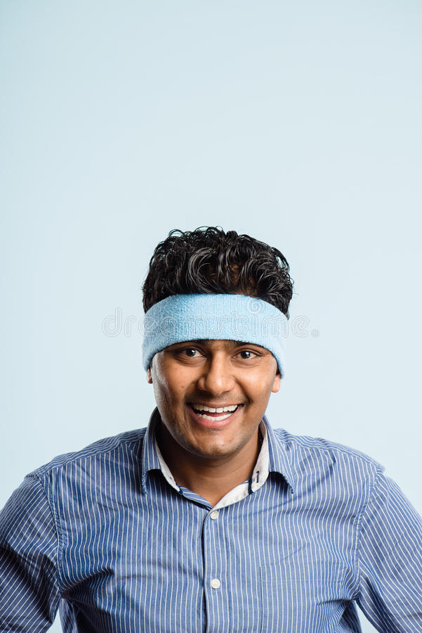 Funny man portrait real people high definition blue background royalty free stock images