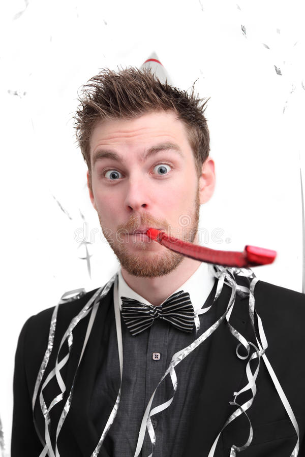 Funny looking party guy royalty free stock photo