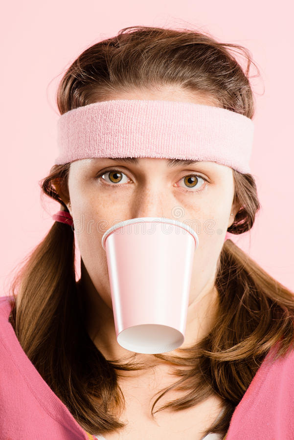 Funny woman portrait pink background real people high definition royalty free stock images
