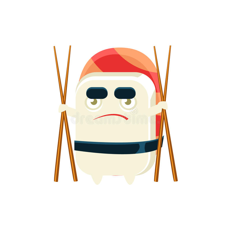 Funny Maki Sushi Character With Eating Sticks. Silly Childish Drawing Isolated On White Background. Funny Creature Colorful Vector Sticker vector illustration