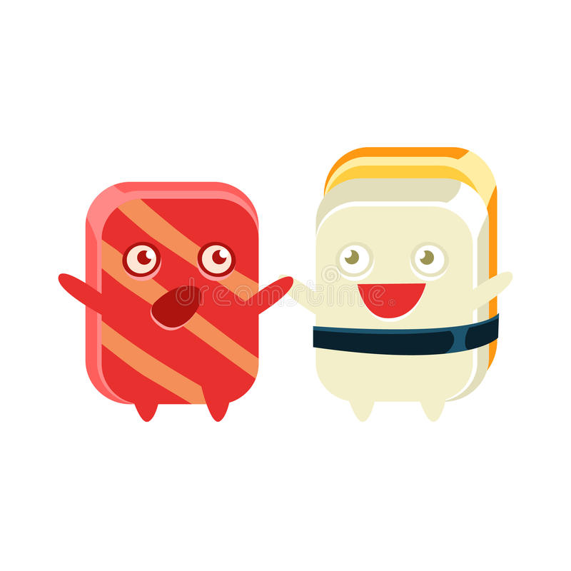 Funny Maki Sushi Character Friends Talking stock illustration