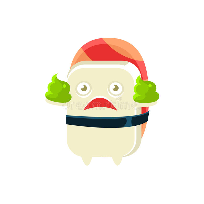 Funny Maki Sushi Character With Two Poops Of Wasabi. Silly Childish Drawing Isolated On White Background. Funny Creature Colorful Vector Sticker vector illustration