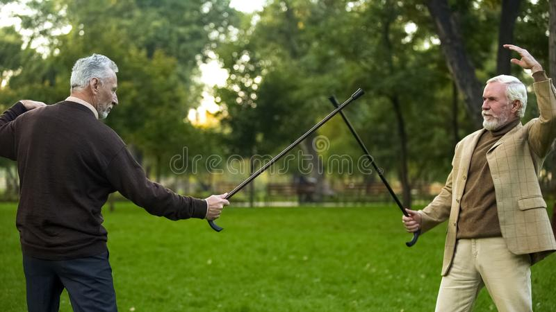Funny male friends fighting with walking sticks in park, pretending be knights royalty free stock image