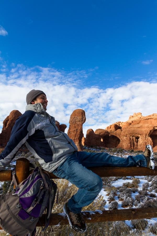Funny man in Arches royalty free stock images