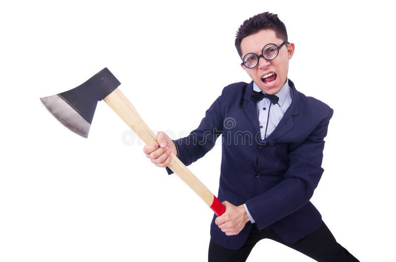 Download Funny man with axe stock image. Image of emotion, male - 31752897