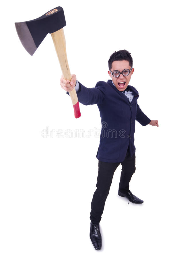 Download Funny man with axe stock photo. Image of communication - 32586990